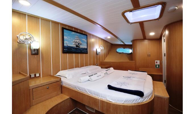 Interior saloon with dining table and bar