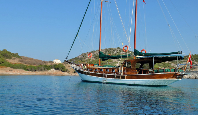 Ariva anchored in a crystal clear bay
