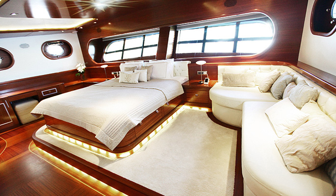 Sumptuous second master cabin with plush furnishings and en suite