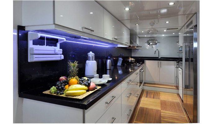 Fully equipped modern galley kitchen