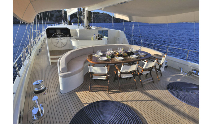 Aft deck dining area and on deck bar from aft