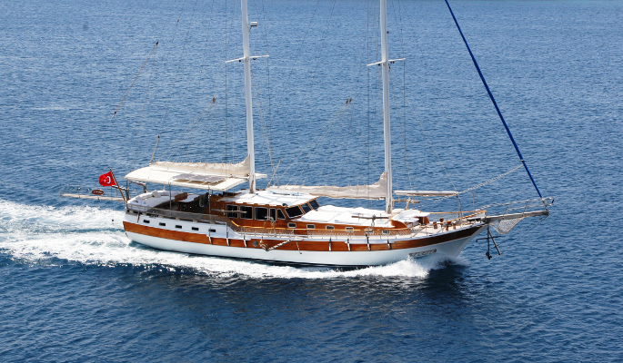Sophisticated 24m gulet yacht for private sailing charter from Bodrum