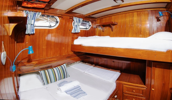 All cabins have double bed & upper bunk