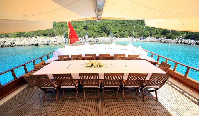 Large shaded dining area and sofa seating on aft deck