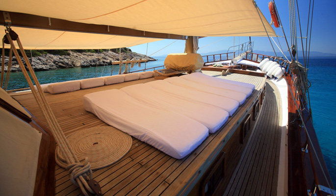 Sun loungers and shade canopy on deck