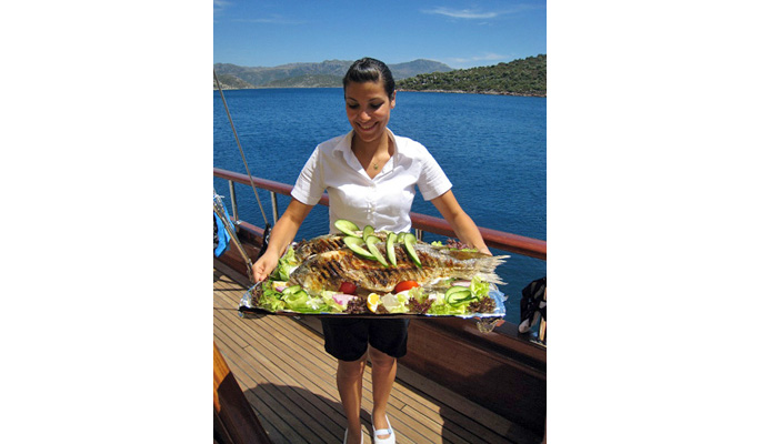 Incredible Turkish- Mediterranean cuisine cooked daily by the gulet chef