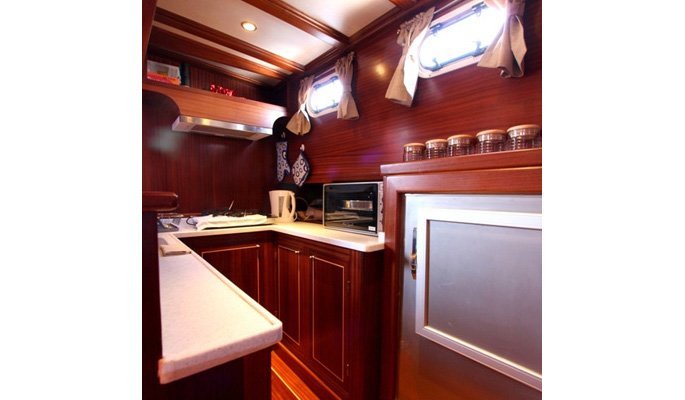 Neat and well equipped galley