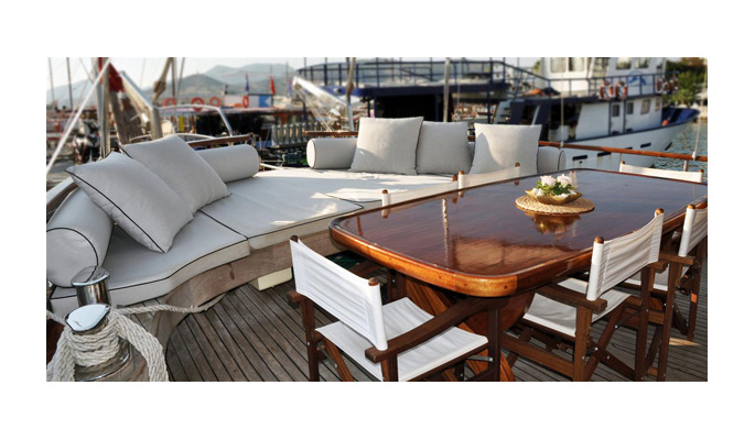 Beautifully designed on deck lounge and dining area