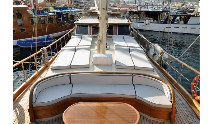 View of deck from foredeck