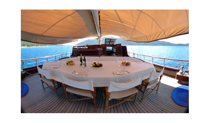 Large shaded dining table on deck
