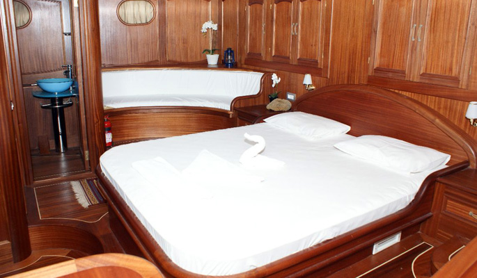 Luxurious master cabin with sofa and en suite