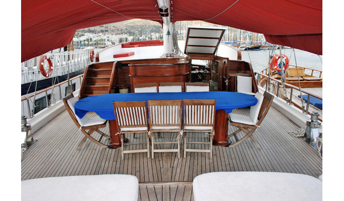 View of deck and dining area from aft