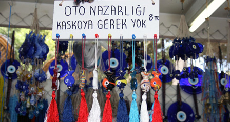 The blue glass evil eye totems, or nazar boncugu, are just one of the tradtional hand made items to be found shopping in Turkey