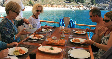 Enjoy one of many delicious meals on board your private gulet ycht charter