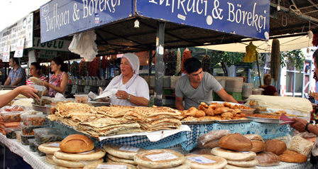 A variety of traditional home made bread and Turkish pancakes sold in the local markets