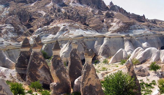Wonderful naturally formed landscapes in Cappadocia