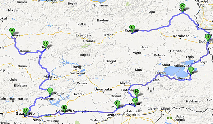 Map of Eastern Turkey overland tour Sivas to Erzurum