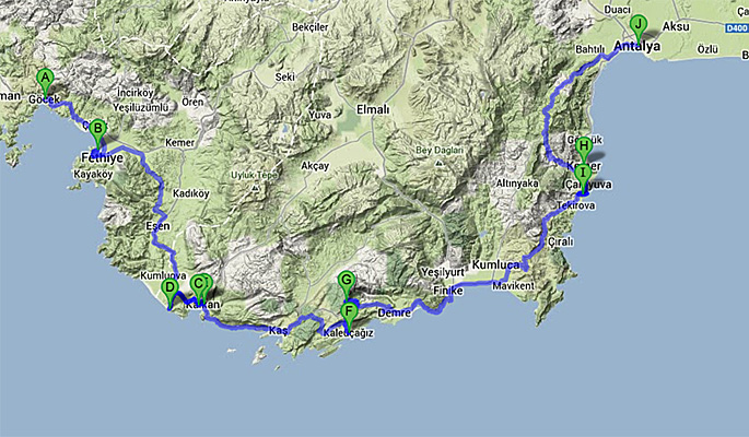 Map of overland tour from Gocek to Antalya