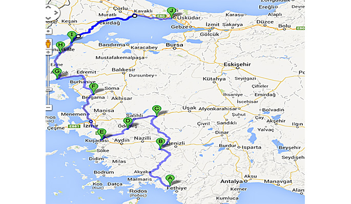 Map of land tour route Gocek to Istanbul