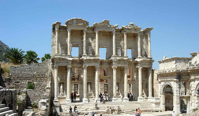 The famous Library of Celsus at Ephesus