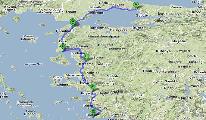 Map of land tour route Istanbul to Bodrum