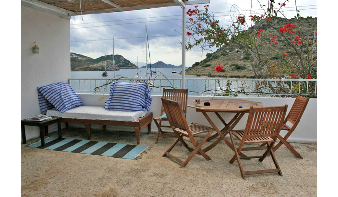 Rooftop terrace with breathtaking views of Gumusluk bay